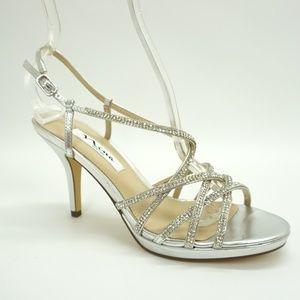 NEW Nina Embellished High Heel Sandals Silver